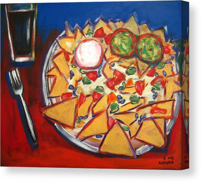 Food Canvas Print featuring the painting Extra Guacamole by Albert Almondia