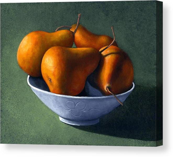 Still Life Canvas Print featuring the painting Pears In Blue Bowl by Frank Wilson