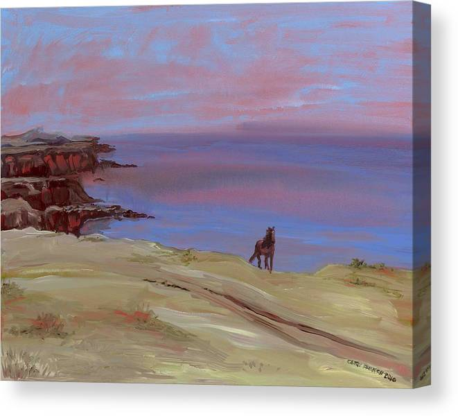 Seascape Canvas Print featuring the painting Stallion At Dingle Bay by Cathy France