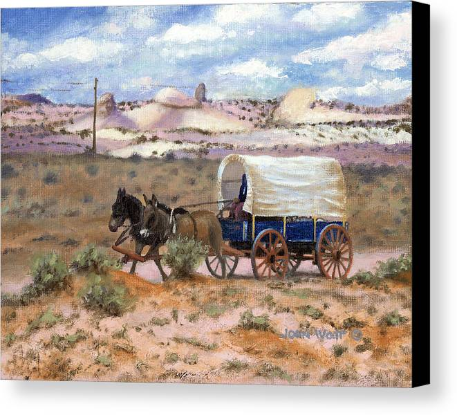 Navajo Indian Southwestern Monument Valley Wagons Canvas Print featuring the painting Slow Boat To Chinle by John Watt