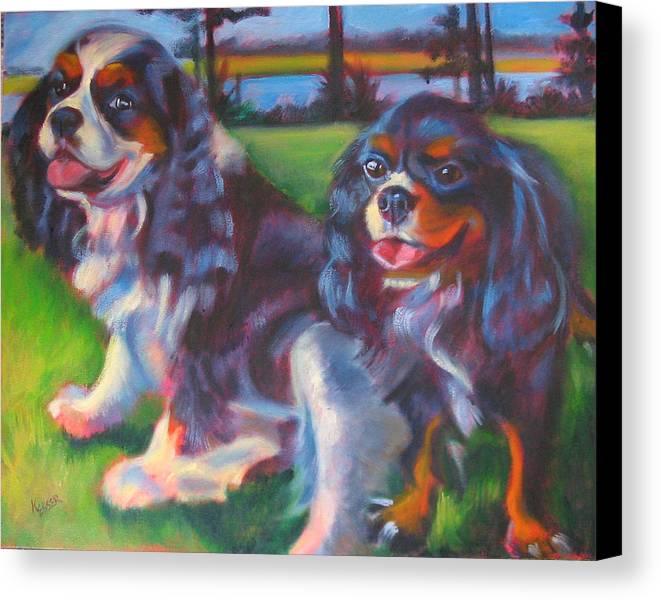 Cavalier Canvas Print featuring the painting Couple Of Hotties by Kaytee Esser