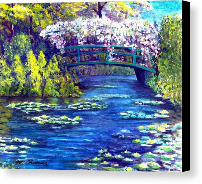 Landscape Canvas Print featuring the print Waterlilly Bridge by George Markiewicz