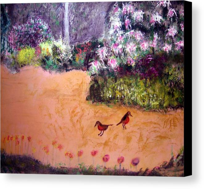 Landscape Canvas Print featuring the painting Along The Garden Path by Michela Akers