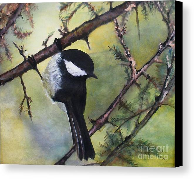 Chickadee Canvas Print featuring the painting Chickadee Autumn by Sibby S