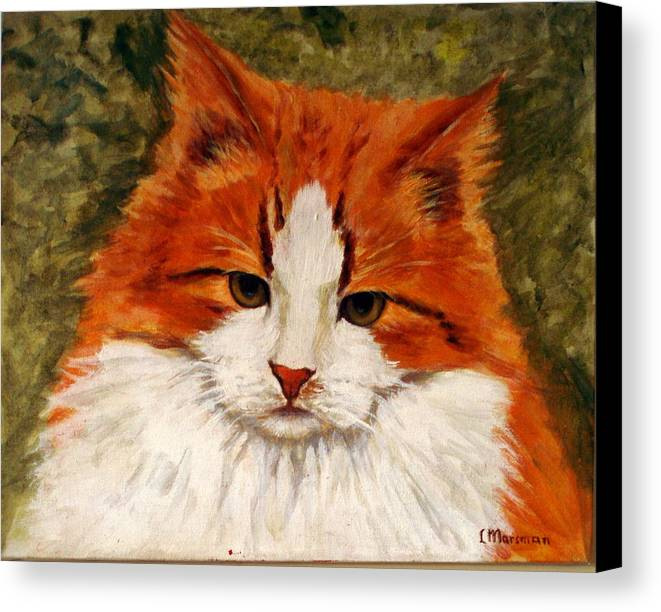 Cats Canvas Print featuring the painting Fat Cat by Lia Marsman