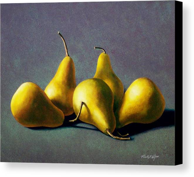 Still Life Canvas Print featuring the painting Five Golden Pears by Frank Wilson