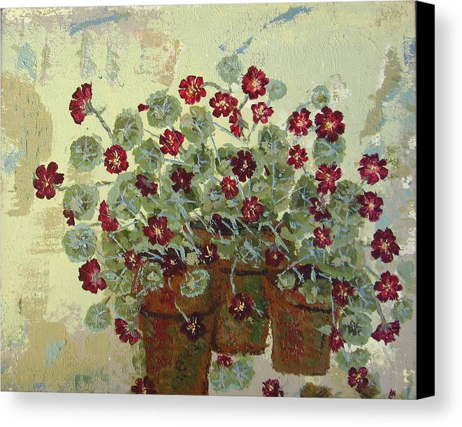 Flower Canvas Print featuring the painting Nasturtiums by Gaye Heidinger