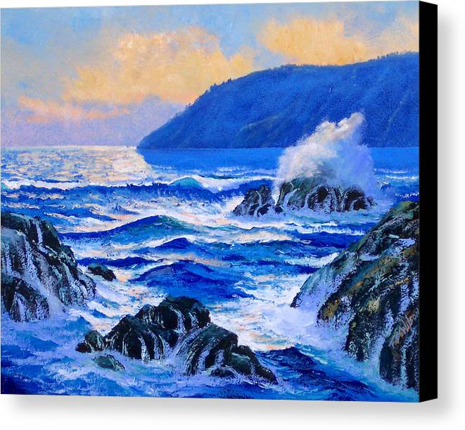 Ocean Canvas Print featuring the painting Pacific Sunset by Frank Wilson