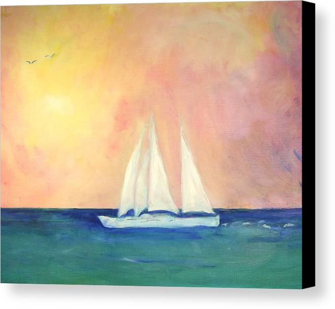 Coastal Canvas Print featuring the painting Sailboat - Regatta Of One by Michela Akers