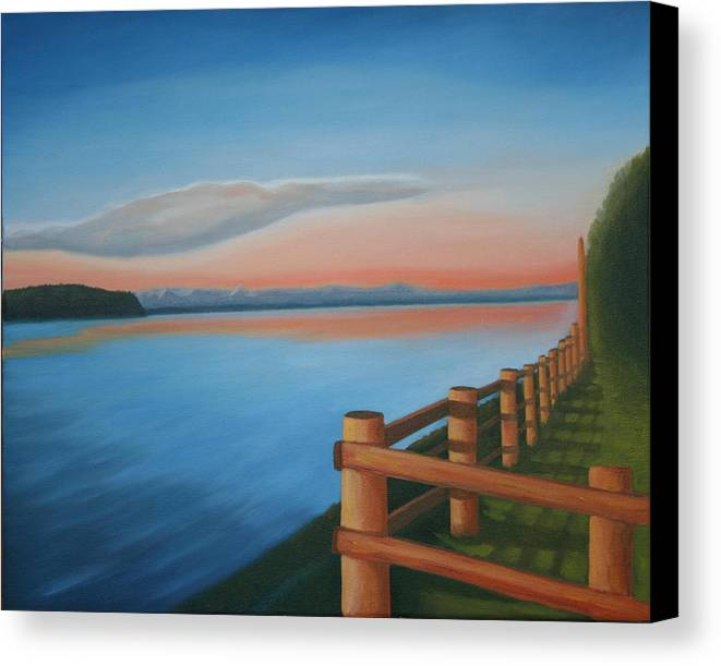 Seascape Canvas Print featuring the painting Whidbey Island Sunset by Stephen Degan