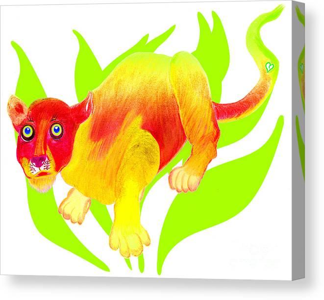 Wild Cat Canvas Print featuring the painting Simon by Tess M J Iroldi