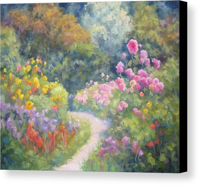 Garden Canvas Print featuring the painting In Monets Footsteps by Bunny Oliver
