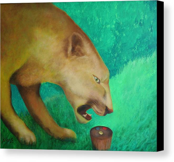 Animal Canvas Print featuring the painting Fearless Cupcake by Rf Hauver