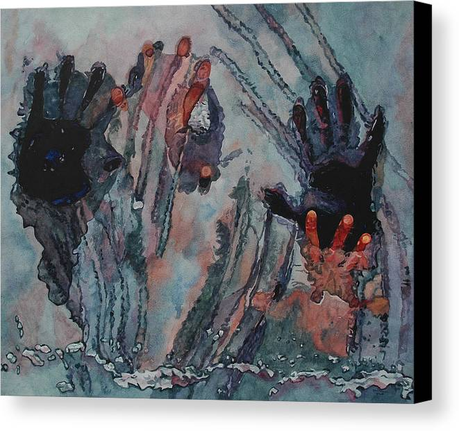 Underneath Canvas Print featuring the painting Under Ice by Valerie Patterson