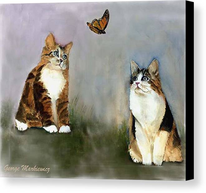 Cats Butterfly Canvas Print featuring the print Whatzit by George Markiewicz