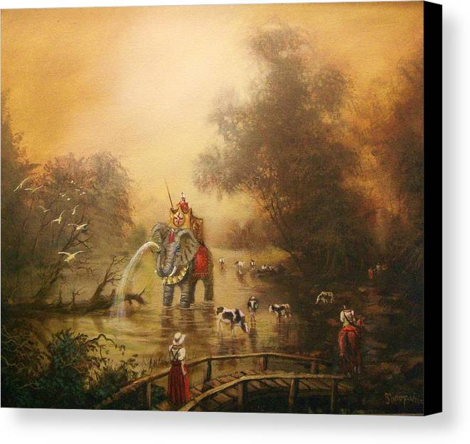 Fantasy Canvas Print featuring the painting Bathing The Royal Elephant by Tom Shropshire