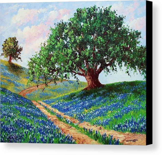 Bluebonnet Canvas Print featuring the painting Bluebonnet Road by David G Paul