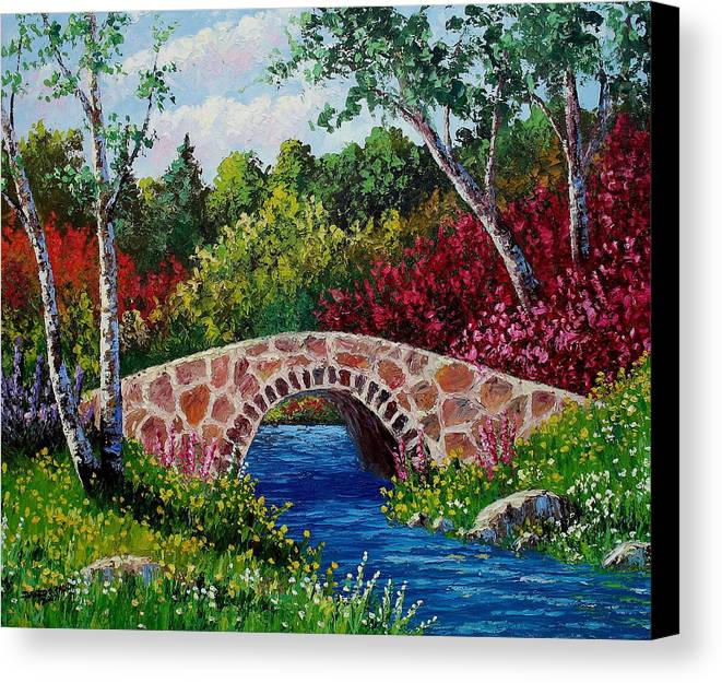 Landscape Canvas Print featuring the painting The Little Stone Bridge by David G Paul