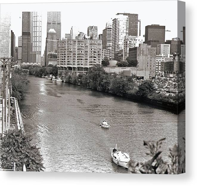 Landscape Canvas Print featuring the photograph Chicago River by Eric Belford