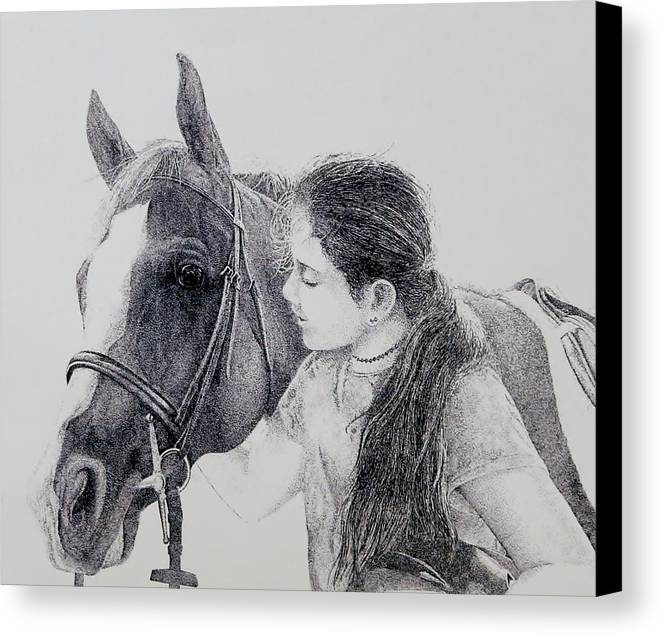 Pets Horses Horseback Riding Children Canvas Print featuring the painting Best Friends by Tony Ruggiero