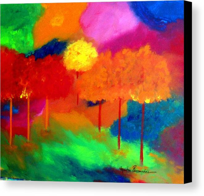 Landscape Canvas Print featuring the painting Enchanted Forest by Maritza Bermudez
