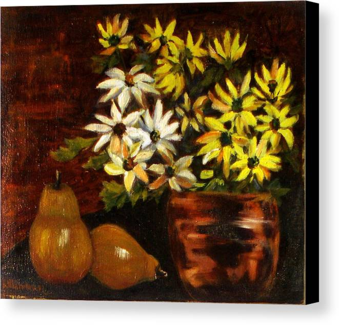Daisies Canvas Print featuring the painting Daisies And Pears by Lia Marsman