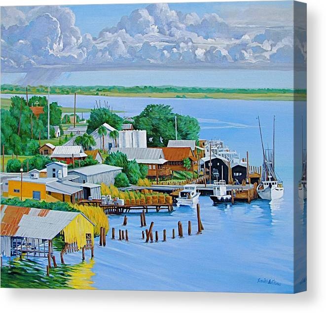 Waterfront Canvas Print featuring the painting Apalachicola Waterfront by Neal Smith-Willow