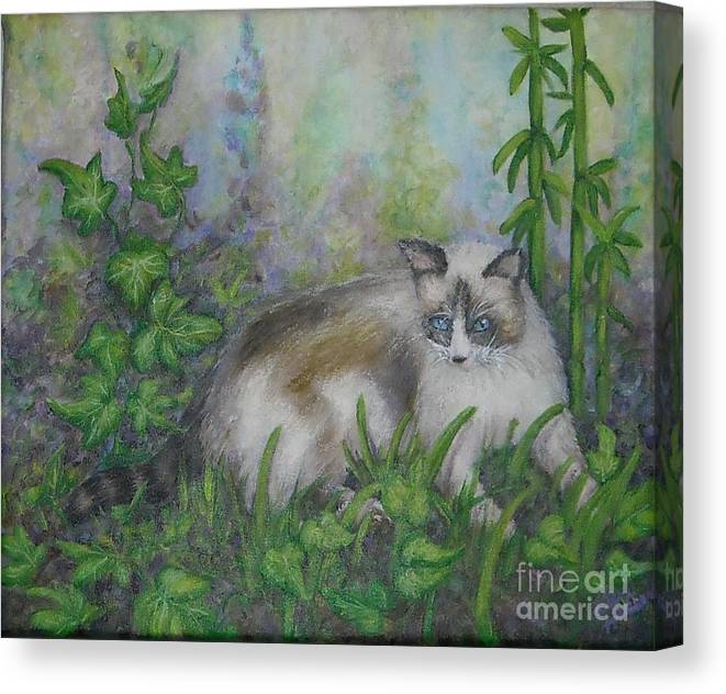 Bella Canvas Print featuring the painting Bella With Ivy And Bamboo by Sheri Hubbard