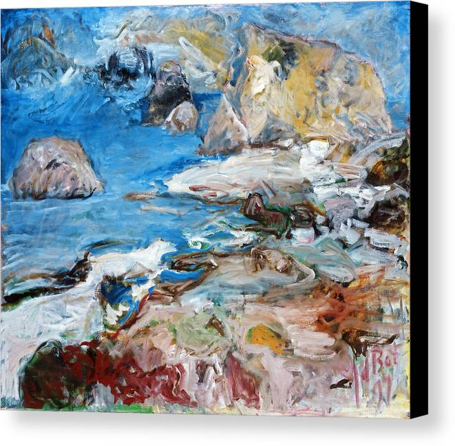 Landscape Sea Rocks Mythology Cyprus Canvas Print featuring the painting Aphrodites Rock by Joan De Bot
