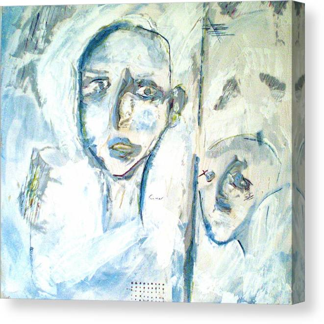 Portraits Canvas Print featuring the painting Divided by Kime Einhorn