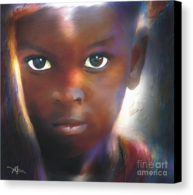 Portrait Canvas Print featuring the painting Windows To The Soul by Bob Salo