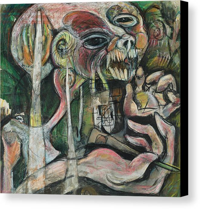 Dark Canvas Print featuring the mixed media Nightmare by Michelle Spiziri