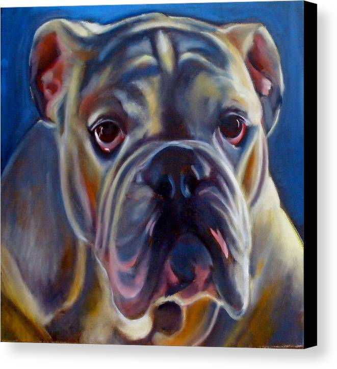 Bulldog Canvas Print featuring the painting Bulldog Expression 2 by Kaytee Esser