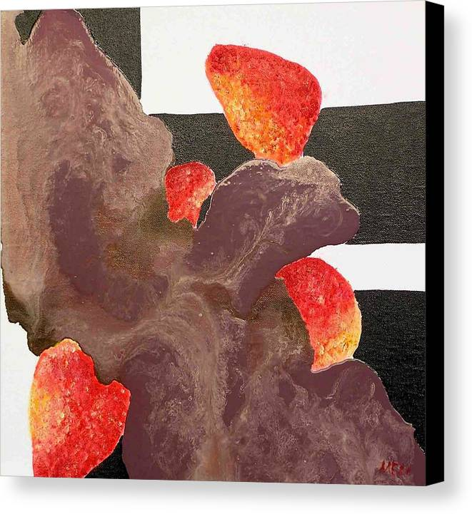 Canvas Print featuring the painting Strawberry In Chocolate by Evguenia Men