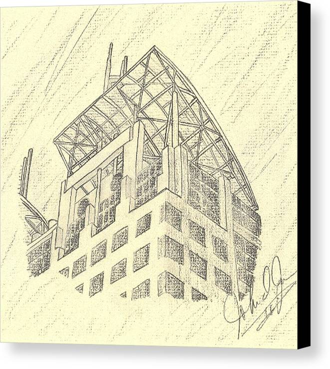 Buildings Canvas Print featuring the drawing Mobile Courthouse by John Jones