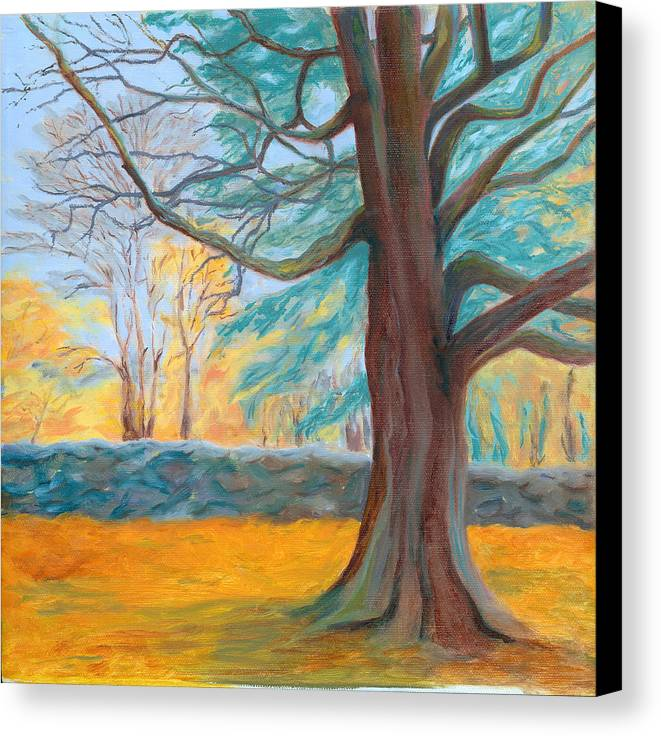 Landscape Canvas Print featuring the painting Autumn On The Preserve by Paula Emery