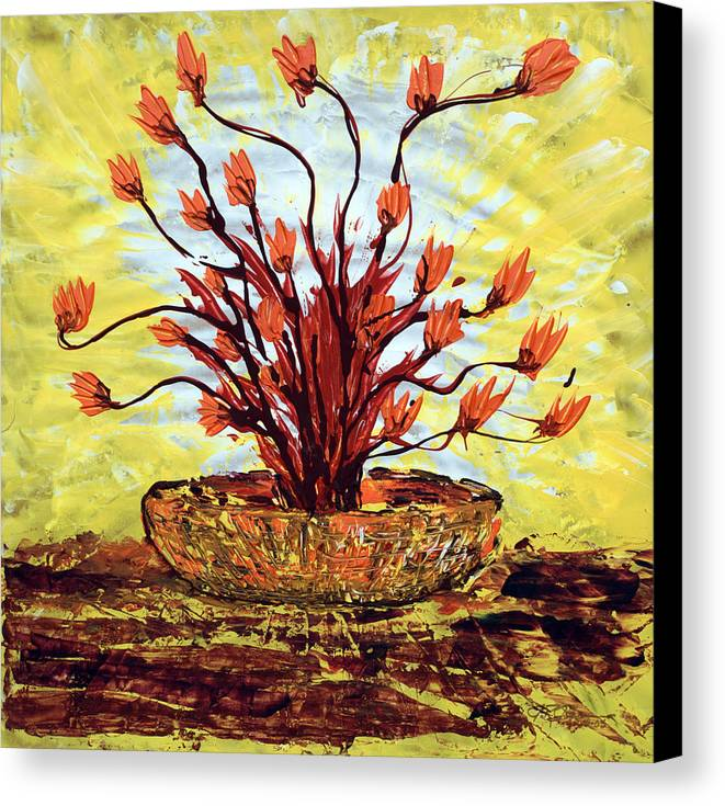 Red Bush Canvas Print featuring the painting The Burning Bush by J R Seymour
