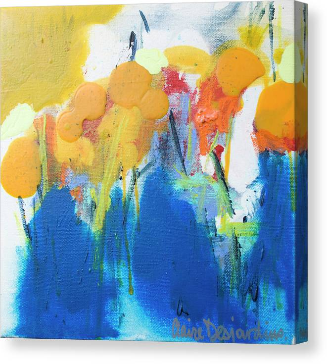 Abstract Canvas Print featuring the painting Little Garden 02 by Claire Desjardins