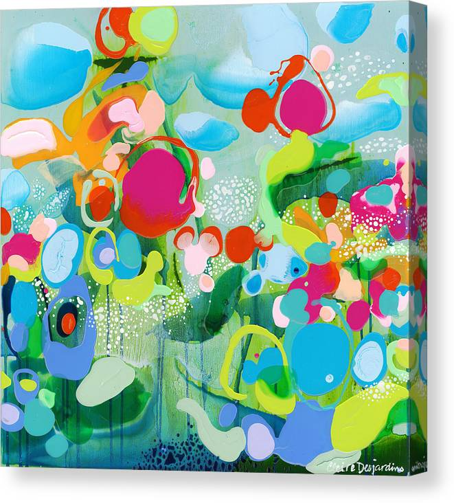 Abstract Canvas Print featuring the painting Paradise Outer Limits by Claire Desjardins
