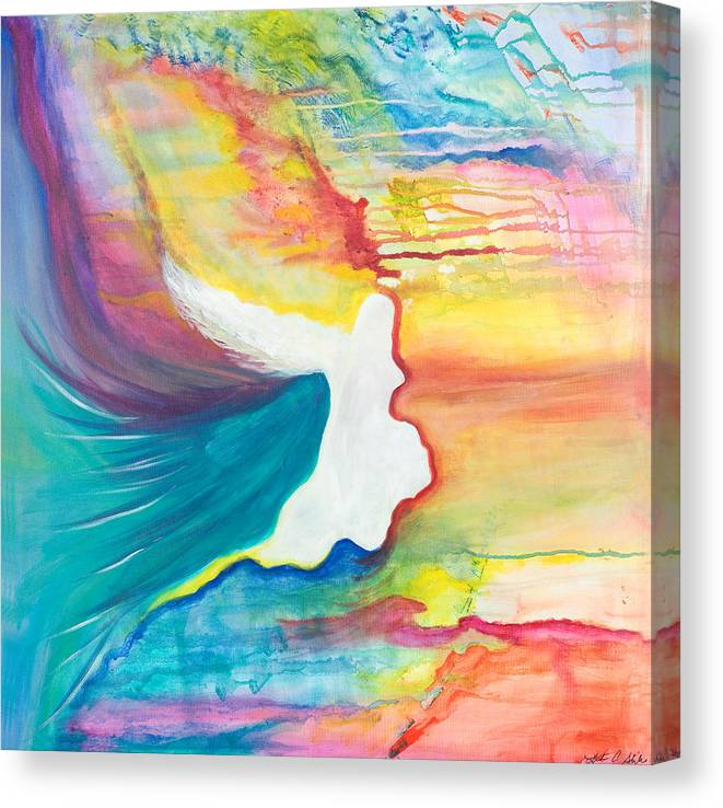 Angels Canvas Print featuring the painting Rainbow Angel by Leti C Stiles