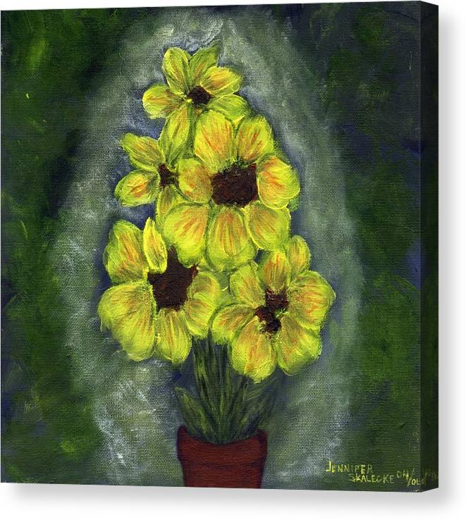 Flowers Canvas Print featuring the painting Sunflower Season - Www.jennifer-d-art.com by Jennifer Skalecke