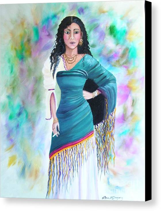 Gypsy Woman Canvas Print featuring the painting Beautiful Zoli by Lora Duguay