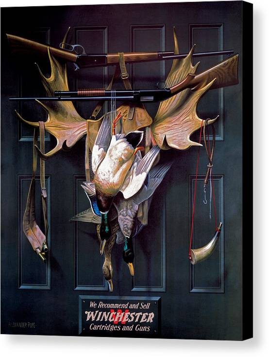 Waterfowl Canvas Print featuring the painting Successful Hunter Door Art by Alexander Pope