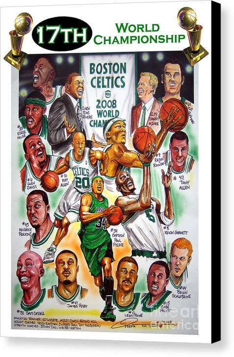 Nba Canvas Print featuring the painting Boston Celtics World Championship Newspaper Poster by Dave Olsen