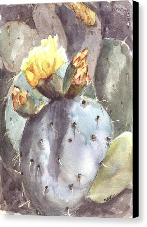 Cactus Canvas Print featuring the painting Cactus Flower by Marilyn Barton