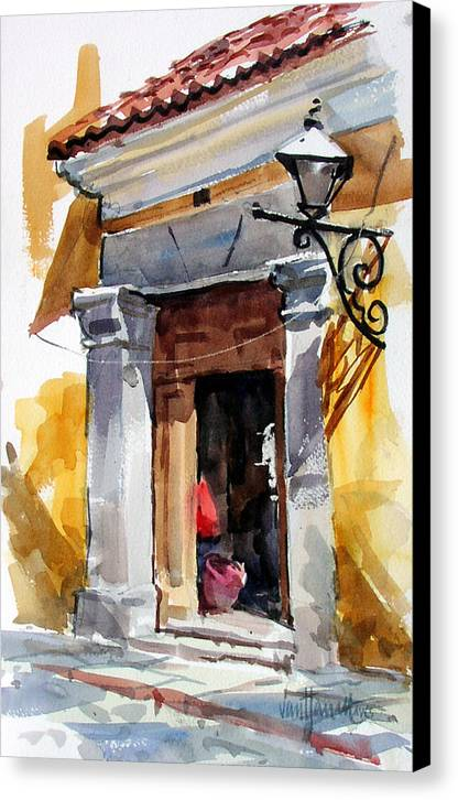 Guatemala Canvas Print featuring the painting Spanish Colonial Portal by Tony Van Hasselt