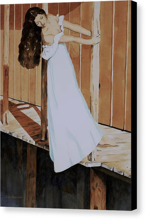 Girl On Dock Canvas Print featuring the painting Girl On Dock by Judy Swerlick