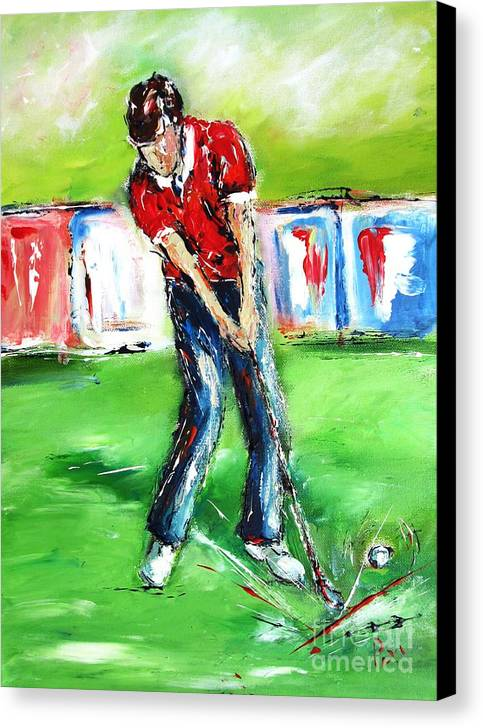 Golf Canvas Print featuring the painting Ideal Gift For Golfing Husband by Mary Cahalan Lee- aka PIXI