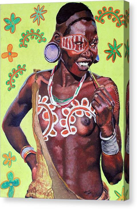 Africa Canvas Print featuring the painting Daisy Child by Andre Ajibade