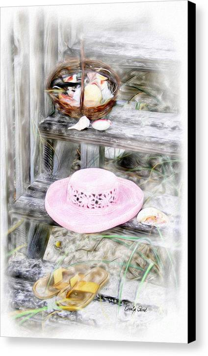 Tropical Beach Shells Seashore Canvas Print featuring the painting Back From The Beach by Carolyn Staut